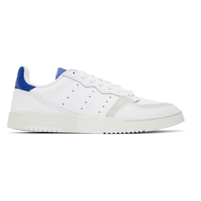 Photo: adidas Originals White and Blue Supercourt Sneakers