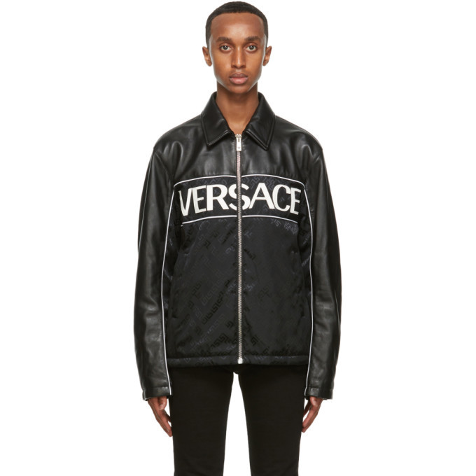 Photo: Versace Black Leather Blouson Jacket