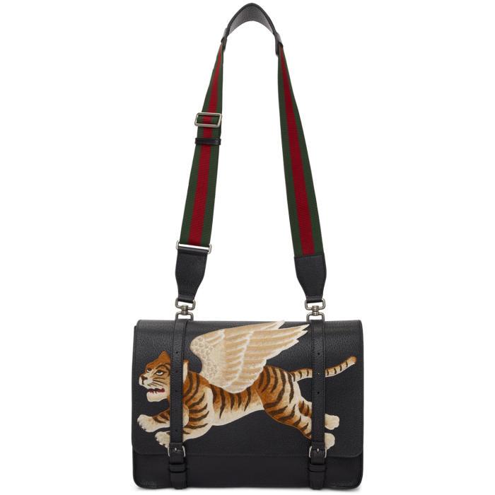 Photo: Gucci Black Flying Tiger Bamboo Messenger Bag