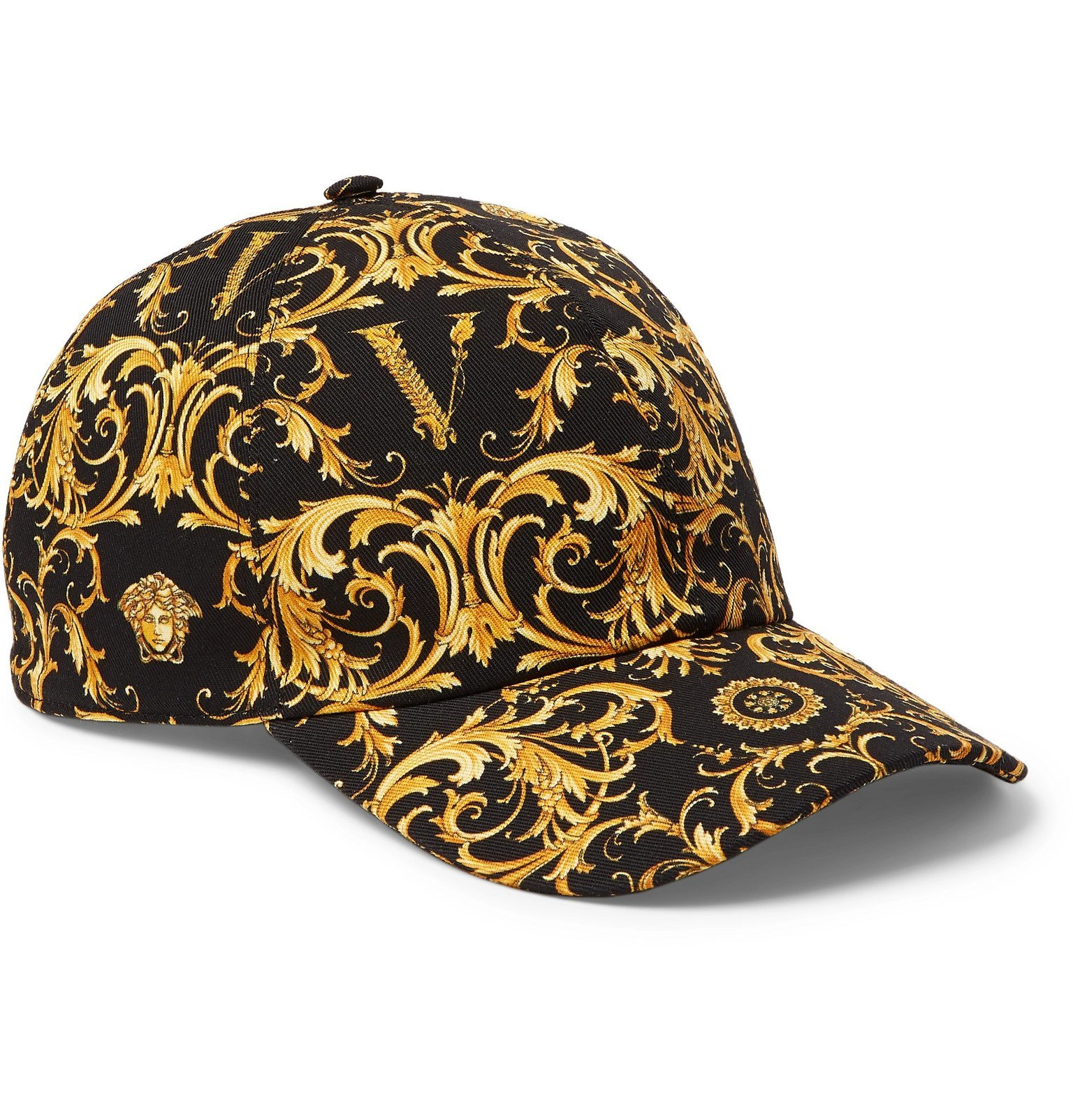 Photo: Versace - Printed Cotton-Twill Baseball Cap - Black