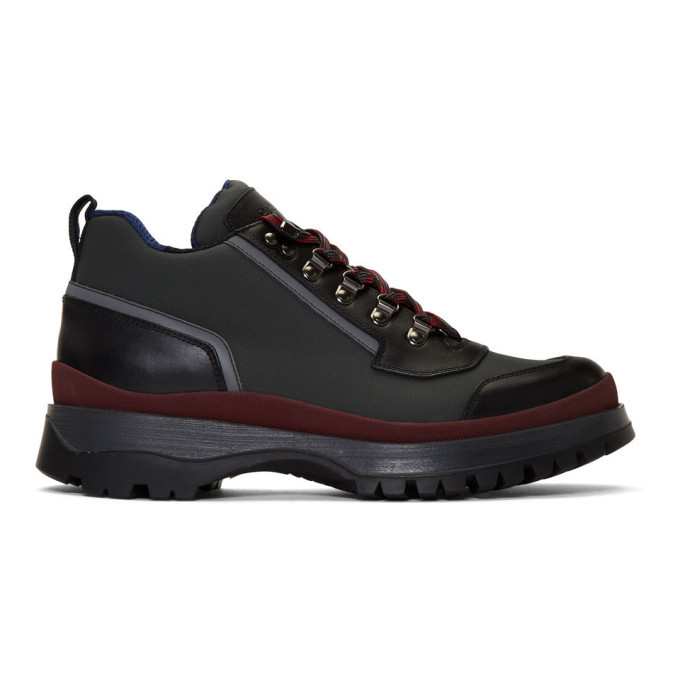 Photo: Prada Red and Grey Hybrid Hiking Boots