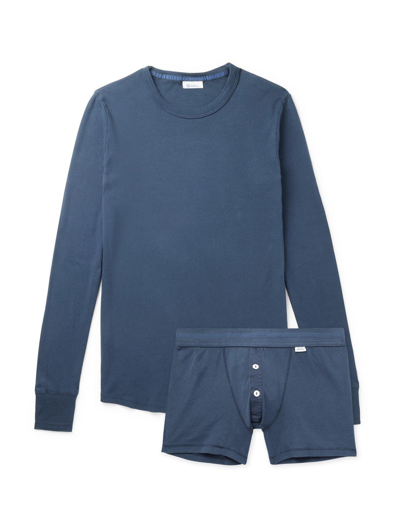 Photo: SCHIESSER - Karl Heinz Two-Piece Cotton-Jersey Set - Blue - M