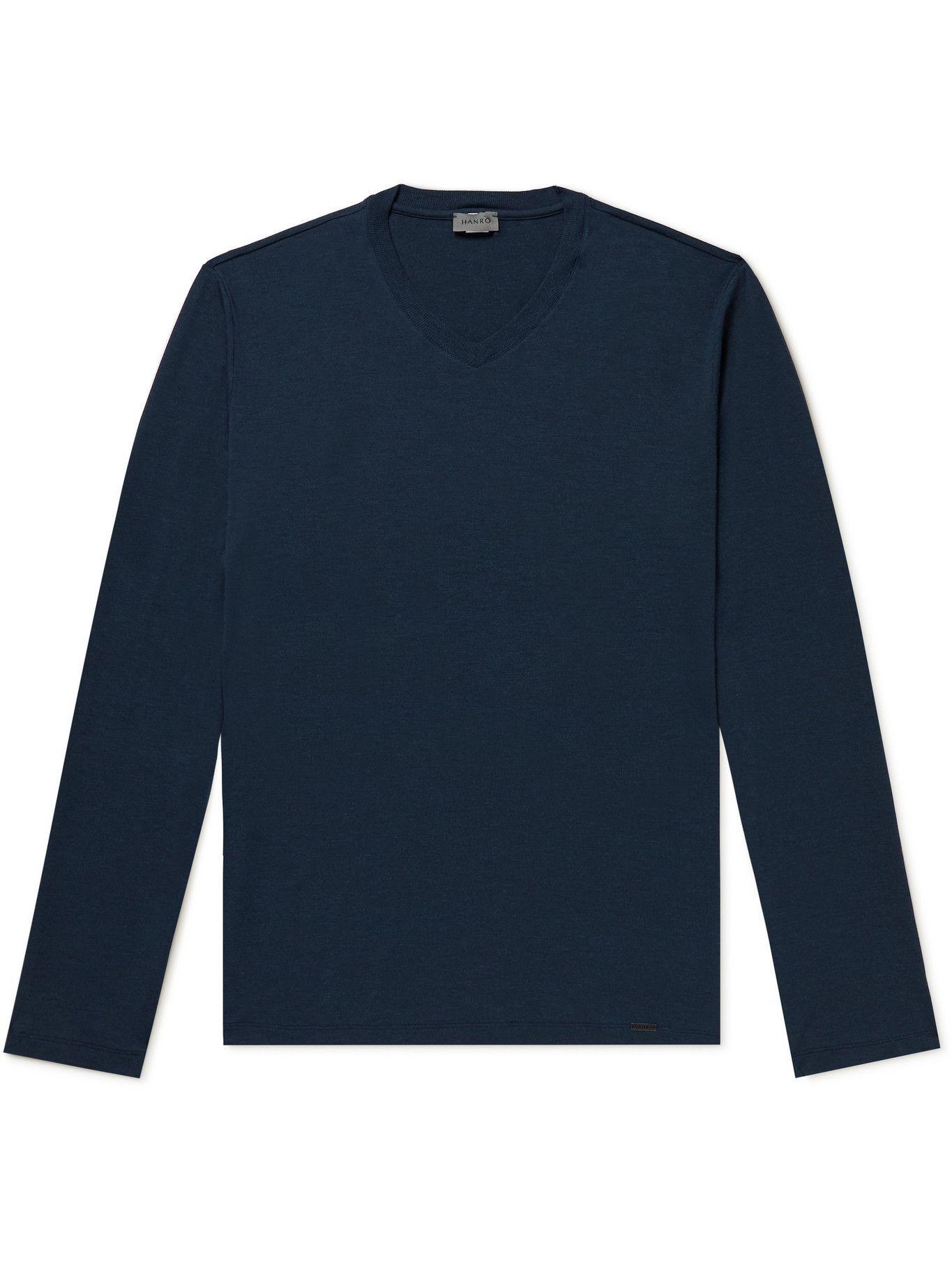 HANRO - Stretch-Jersey Pyjama T-Shirt - Blue