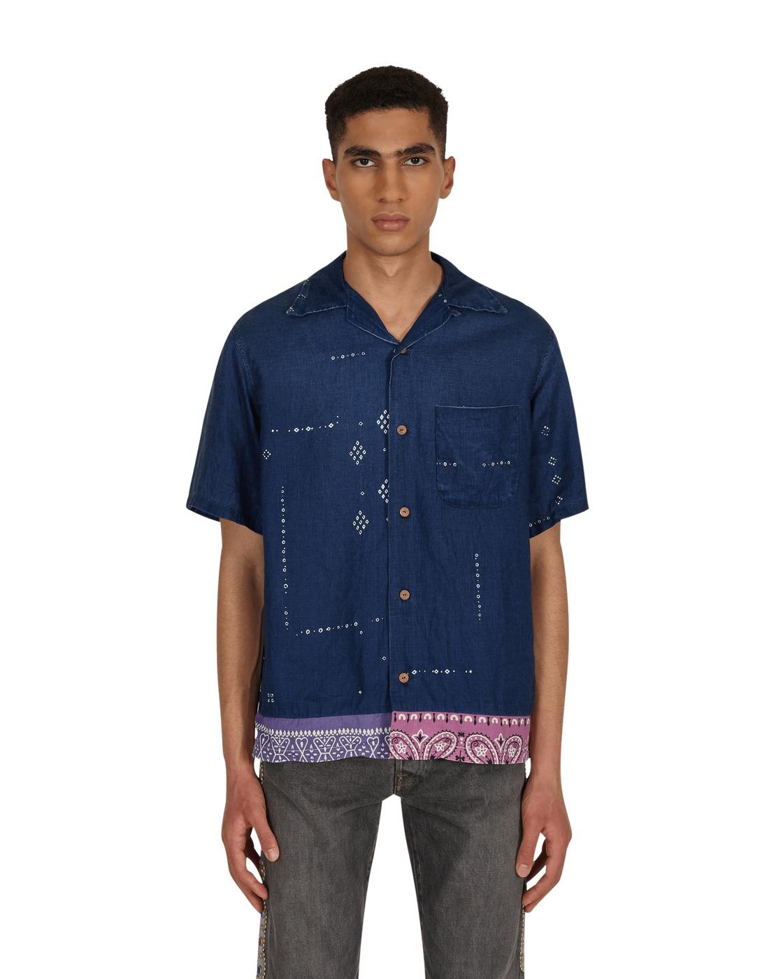 Kapital French Cloth Linen Bandana Remake Aloha Shirt Indigo