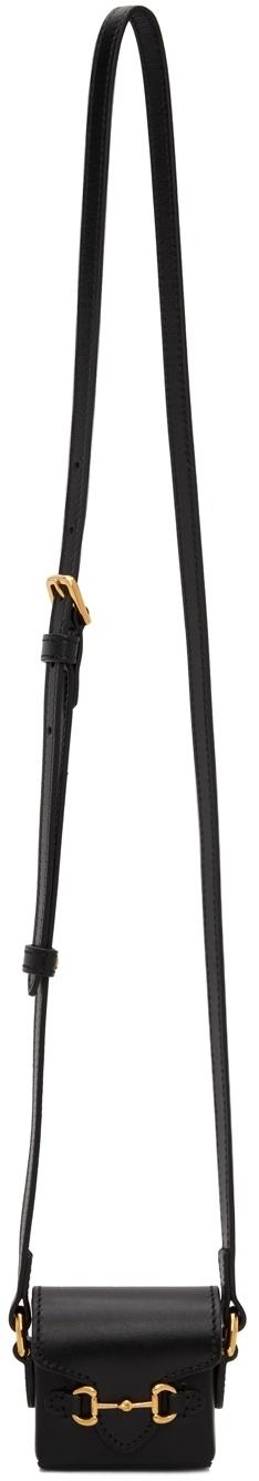 Photo: Gucci Black Mini 'Gucci 1955' Horsebit Pouch