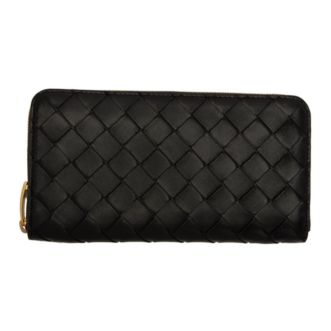 Bottega Veneta Black Intrecciato Zip Wallet