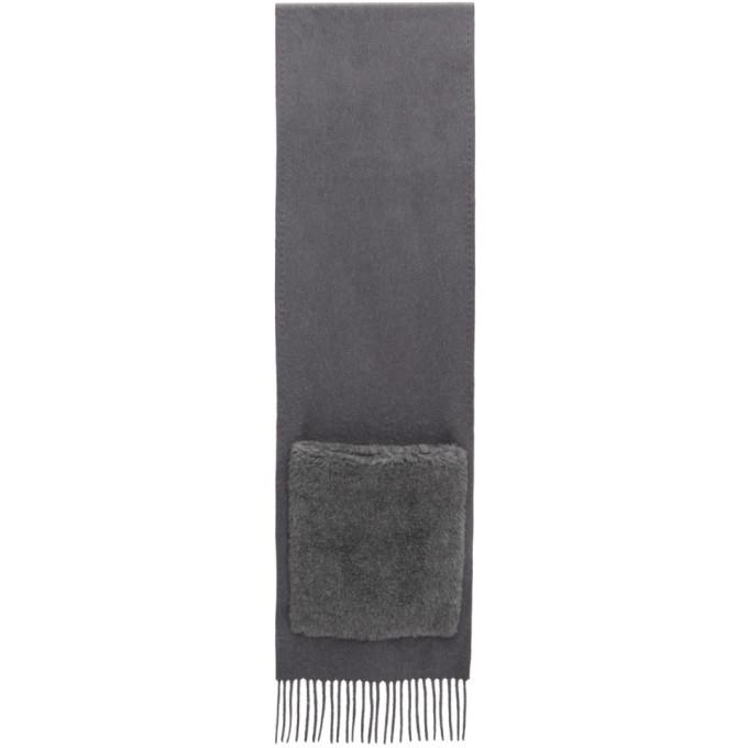Max Mara Grey Wool Wktedd Two-Pocket Scarf