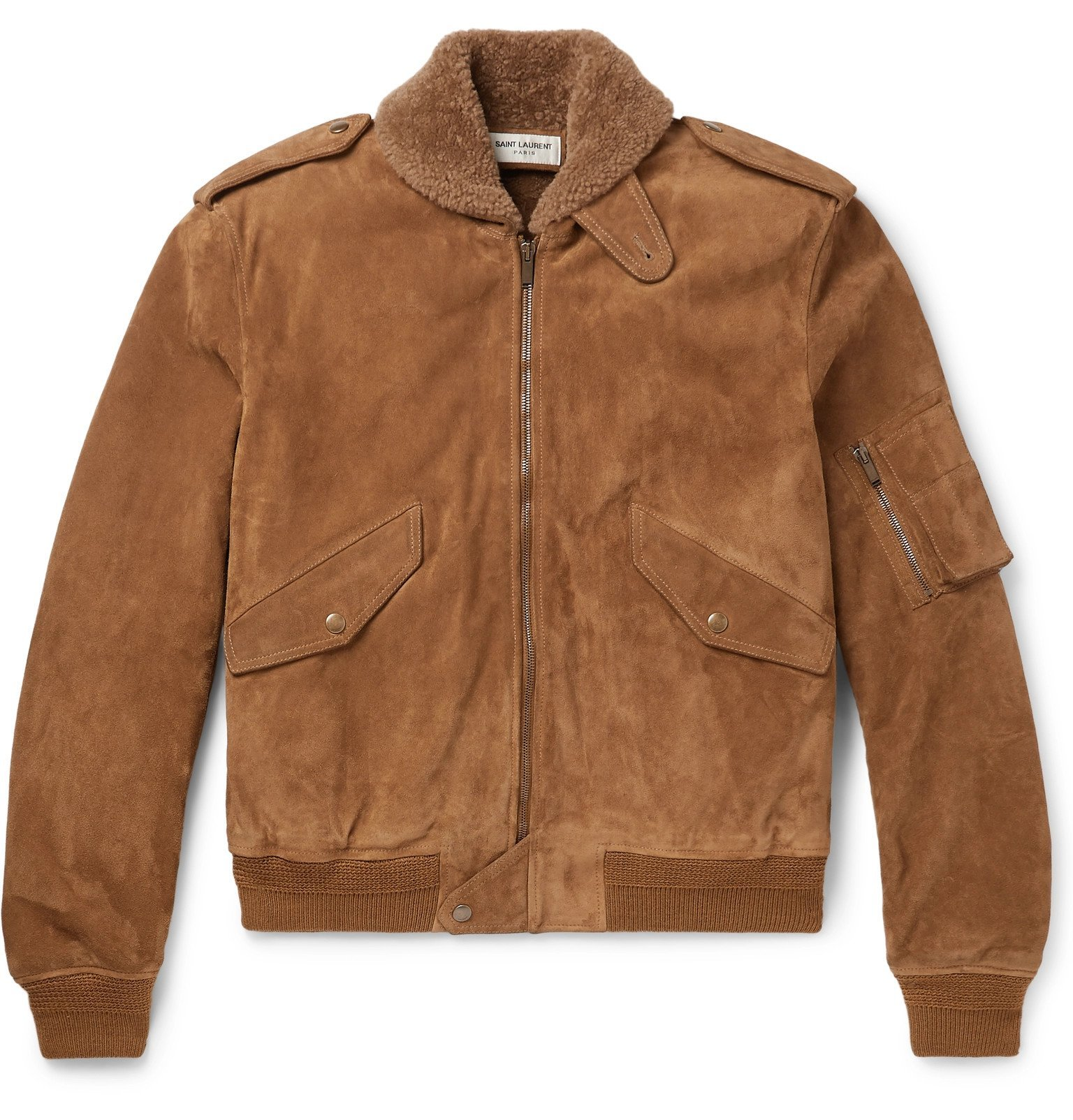 Photo: SAINT LAURENT - Shearling-Lined Suede Aviator Jacket - Brown