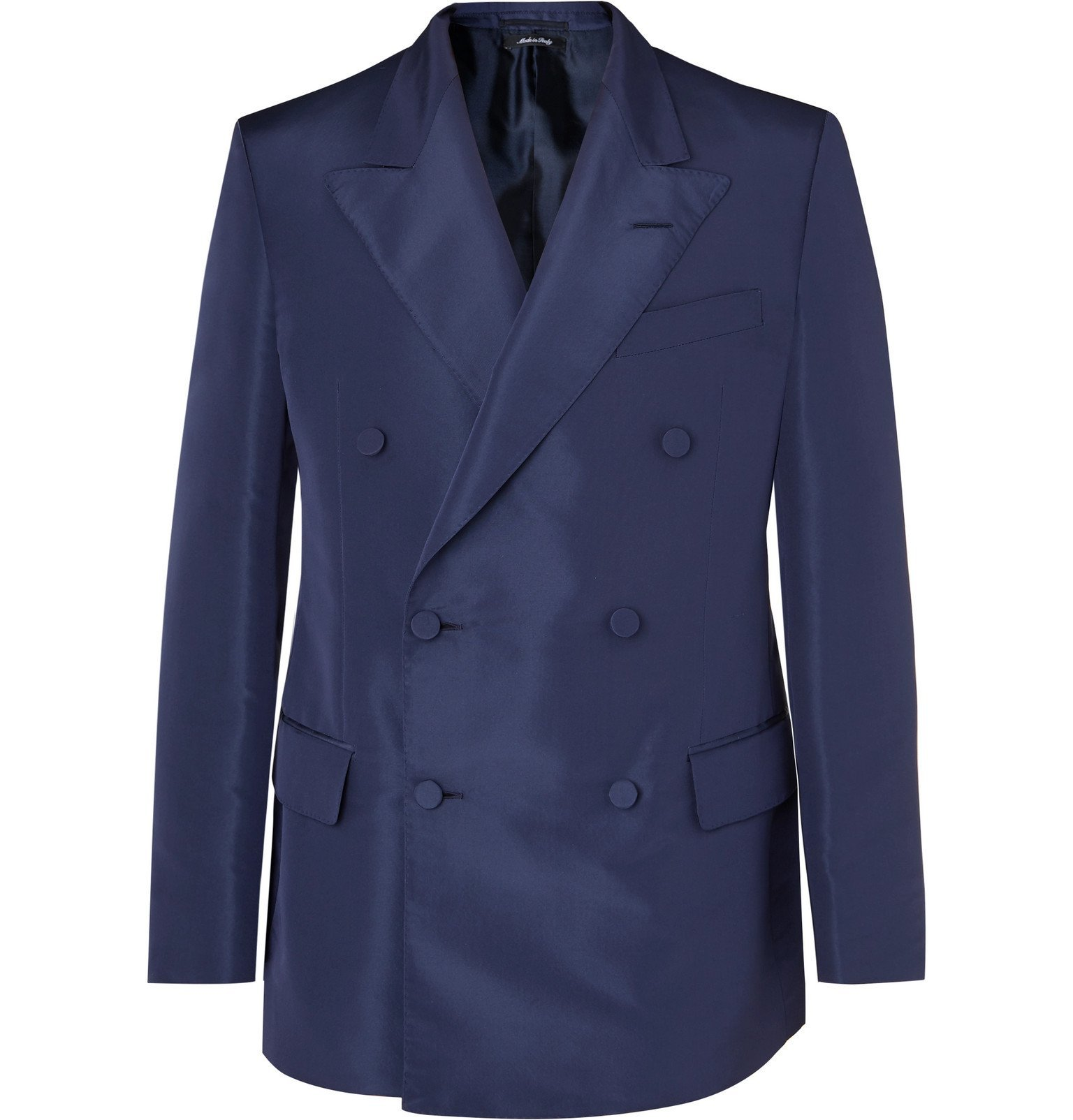Dunhill - Navy Slim-Fit Double-Breasted Mulberry Silk Suit Jacket - Blue