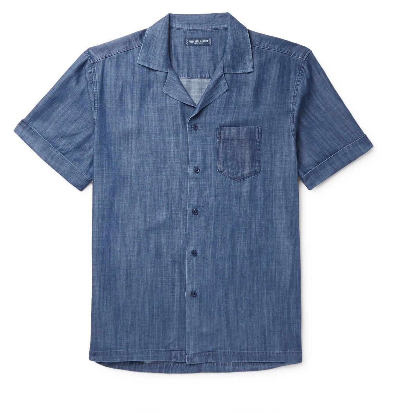 Photo: Frescobol Carioca - Thomaz Camp-Collar Tencel-Chambray Shirt - Blue