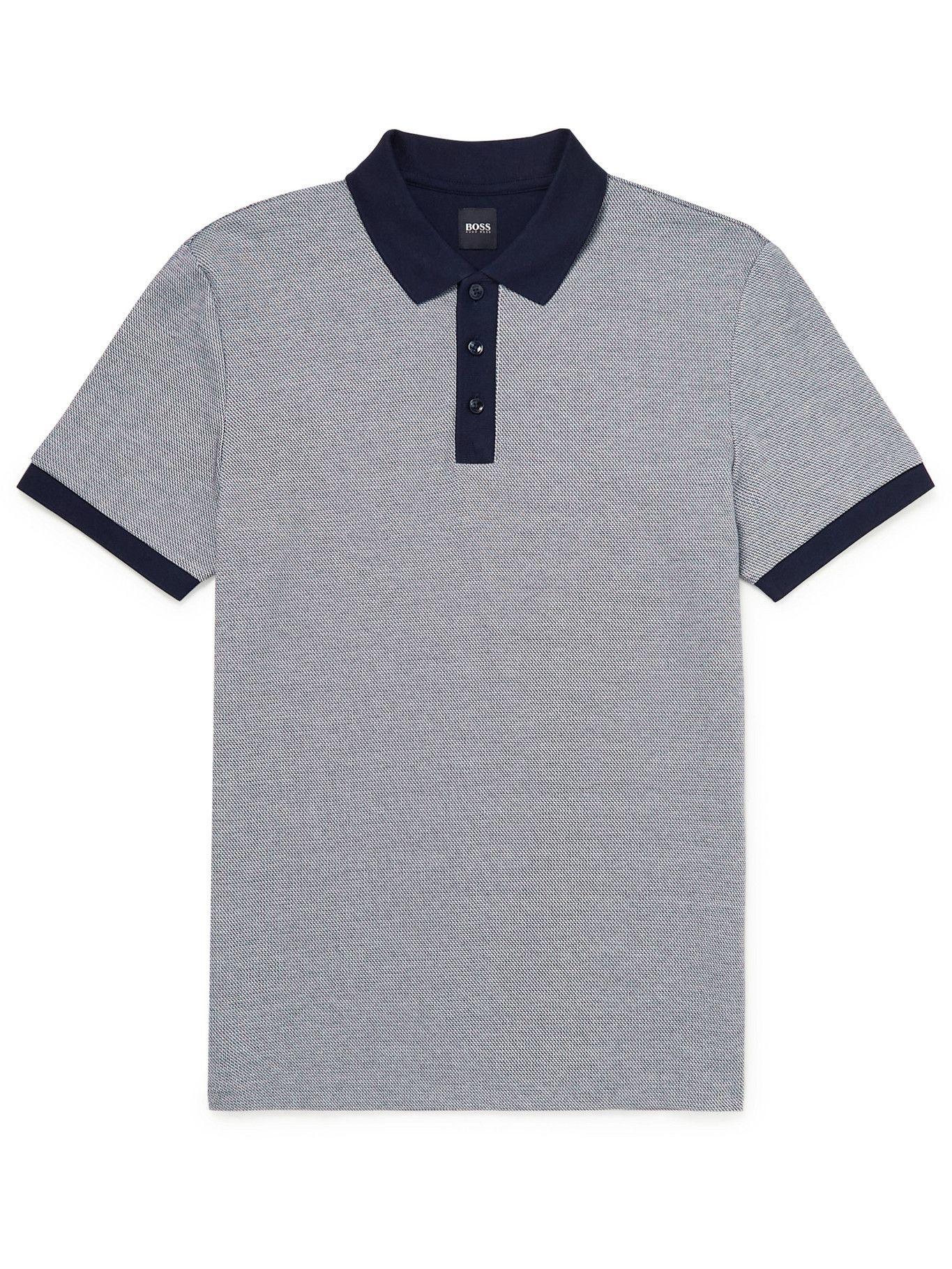 Photo: HUGO BOSS - Two-Tone Cotton-Piqué Polo Shirt - Gray