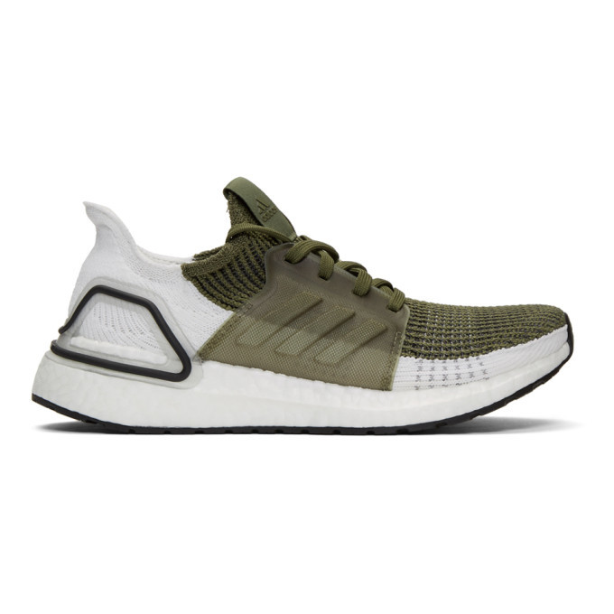 Photo: adidas Originals Khaki and White UltraBOOST 19 Sneakers