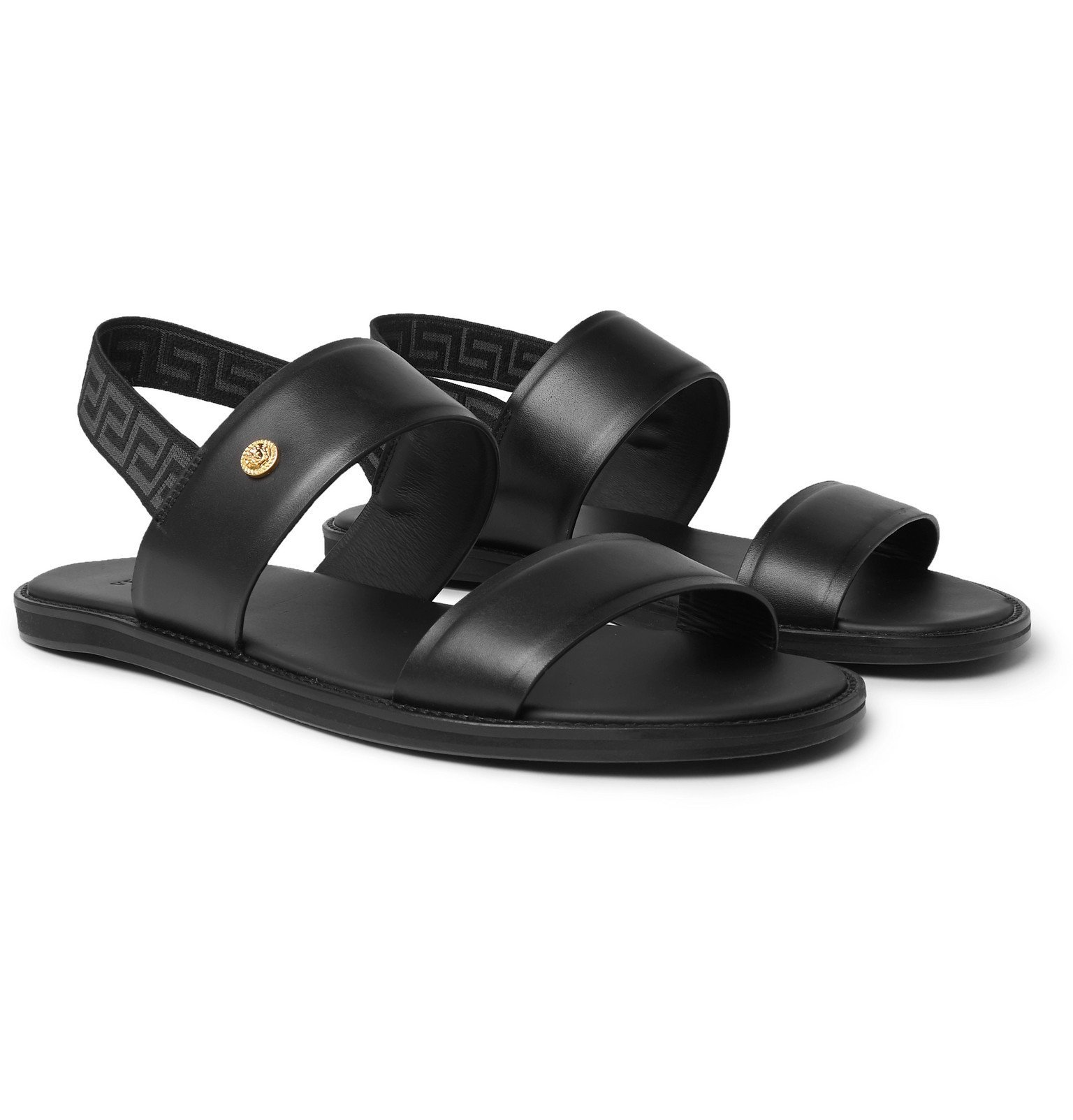 Photo: Versace - Appliquéd Leather Sandals - Black