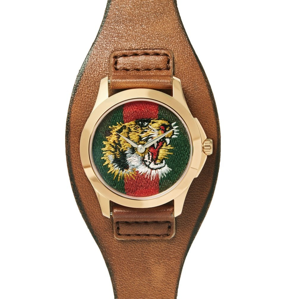 Photo: Gucci - Le Marché Des Merveilles 38mm Gold-Tone and Leather Watch - Green