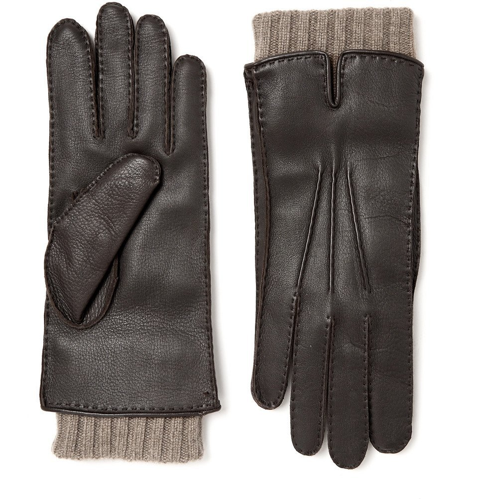 Photo: Loro Piana - Baby Cashmere-Lined Leather Gloves - Brown