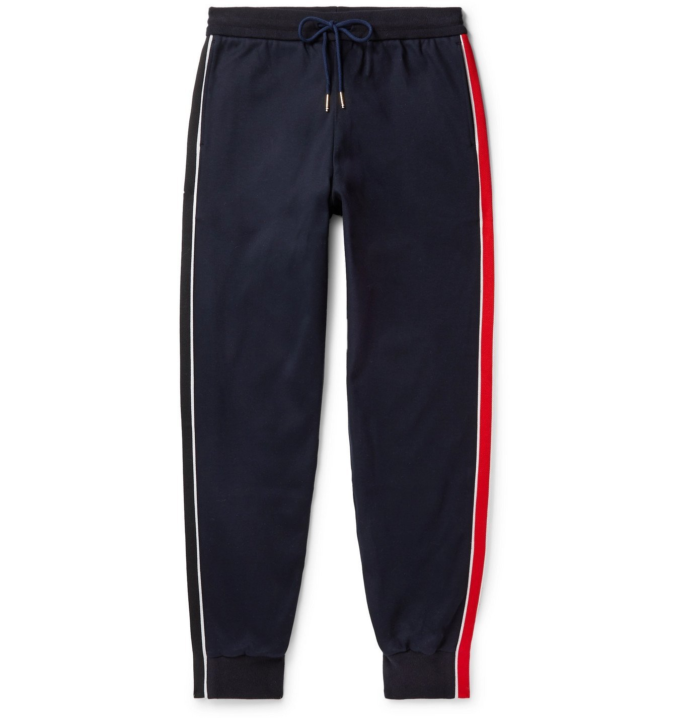 Photo: Thom Browne - Tapered Grosgrain-Trimmed Striped Cotton-Jersey Sweatpants - Blue