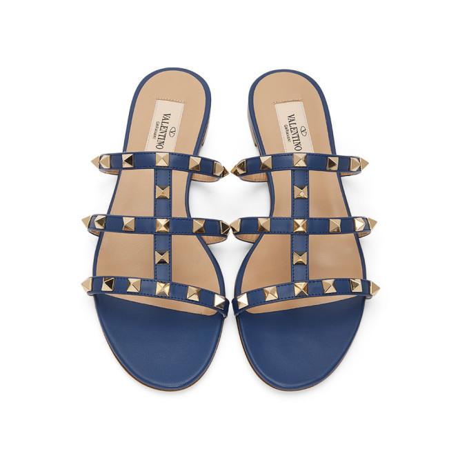Valentino Navy Valentino Garavani Rockstud Slip-On Sandals