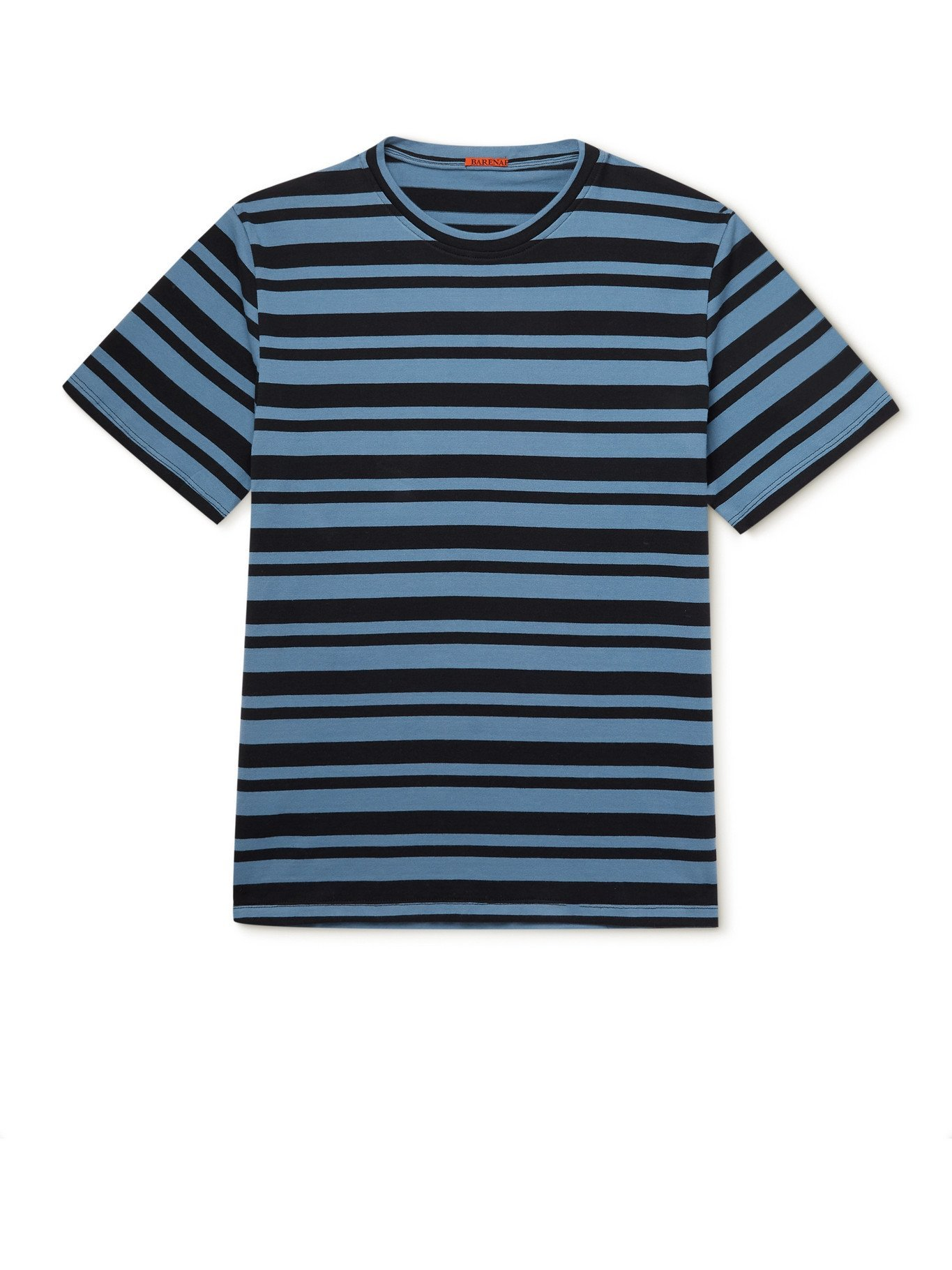 Photo: BARENA - Striped Cotton-Jersey T-Shirt - Blue