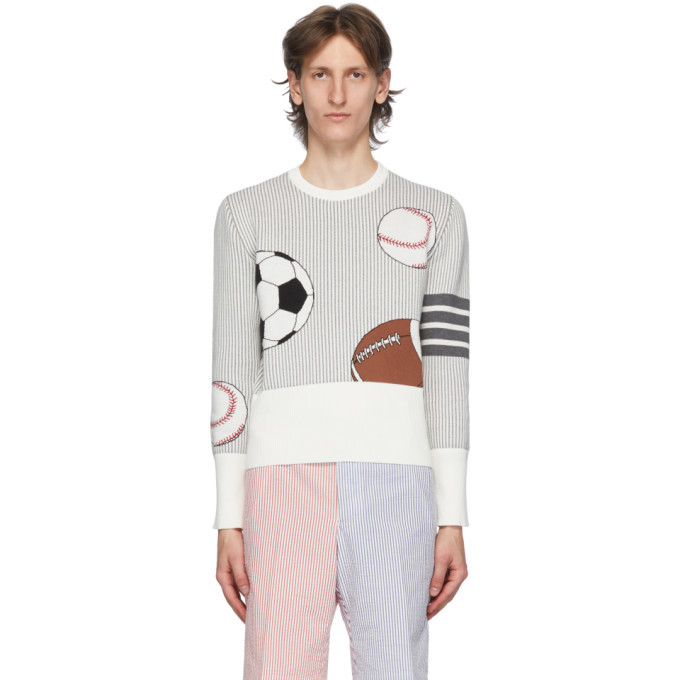 Photo: Thom Browne White and Grey 4-Bar Striped Multi Ball Icon Sweater