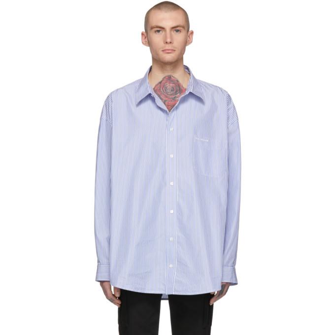 Photo: Balenciaga Blue and White Striped Oversized Shirt