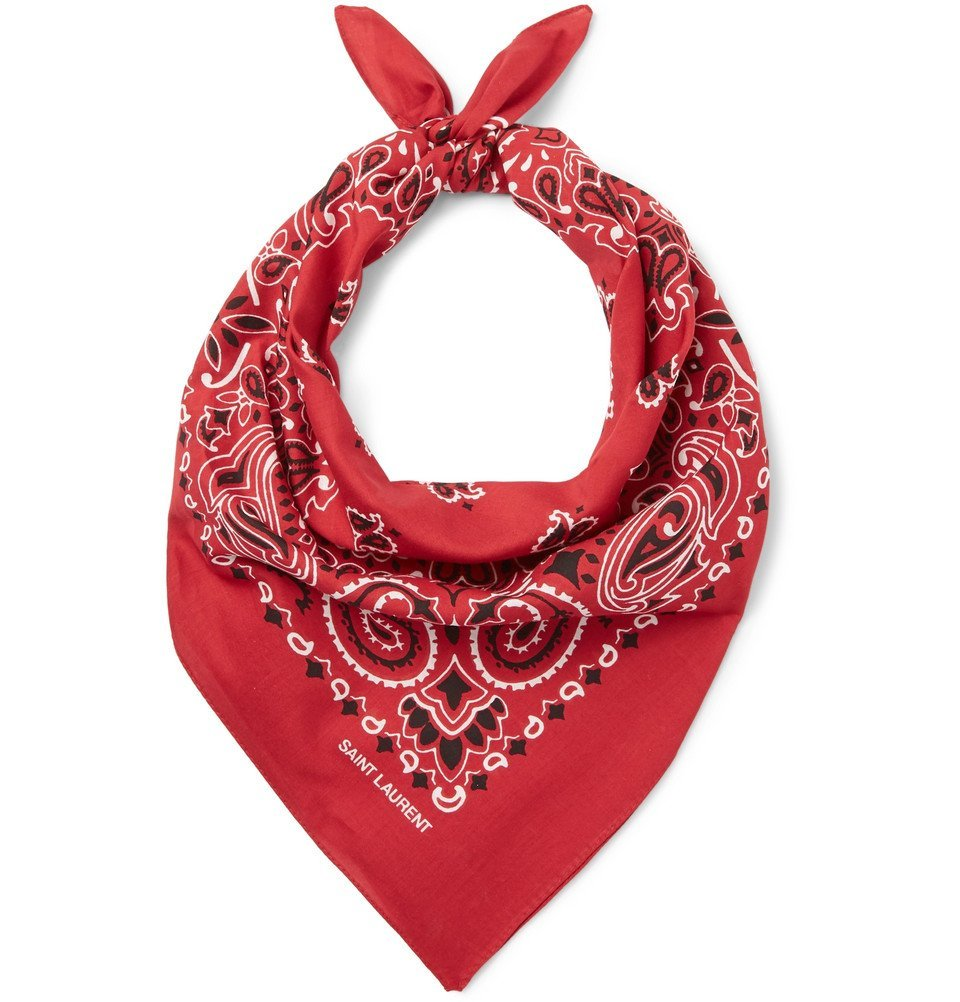 Photo: Saint Laurent - Printed Cotton Bandana - Red