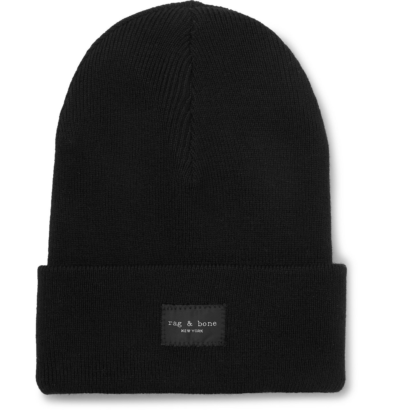 Photo: rag & bone - Addison Logo-Appliquéd Wool-Blend Beanie - Black
