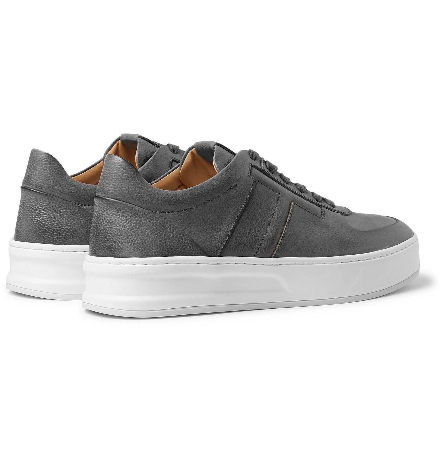 Tod's - Full-Grain Leather Sneakers - Gray