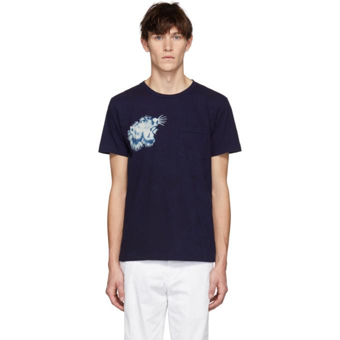 Photo: Blue Blue Japan SSENSE Exclusive Indigo Tiger Face T-Shirt
