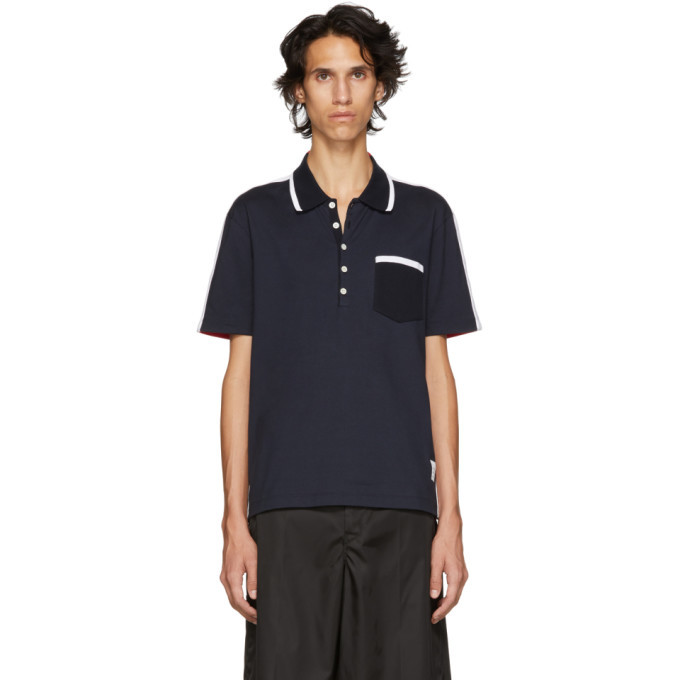 Photo: Thom Browne Navy and Red Bicolor Polo