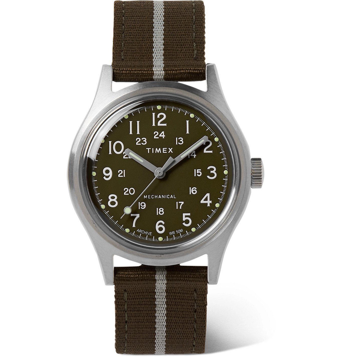 Photo: Timex - MK1 Hand-Wound 36mm Stainless Steel and Striped NATO Watch - Green