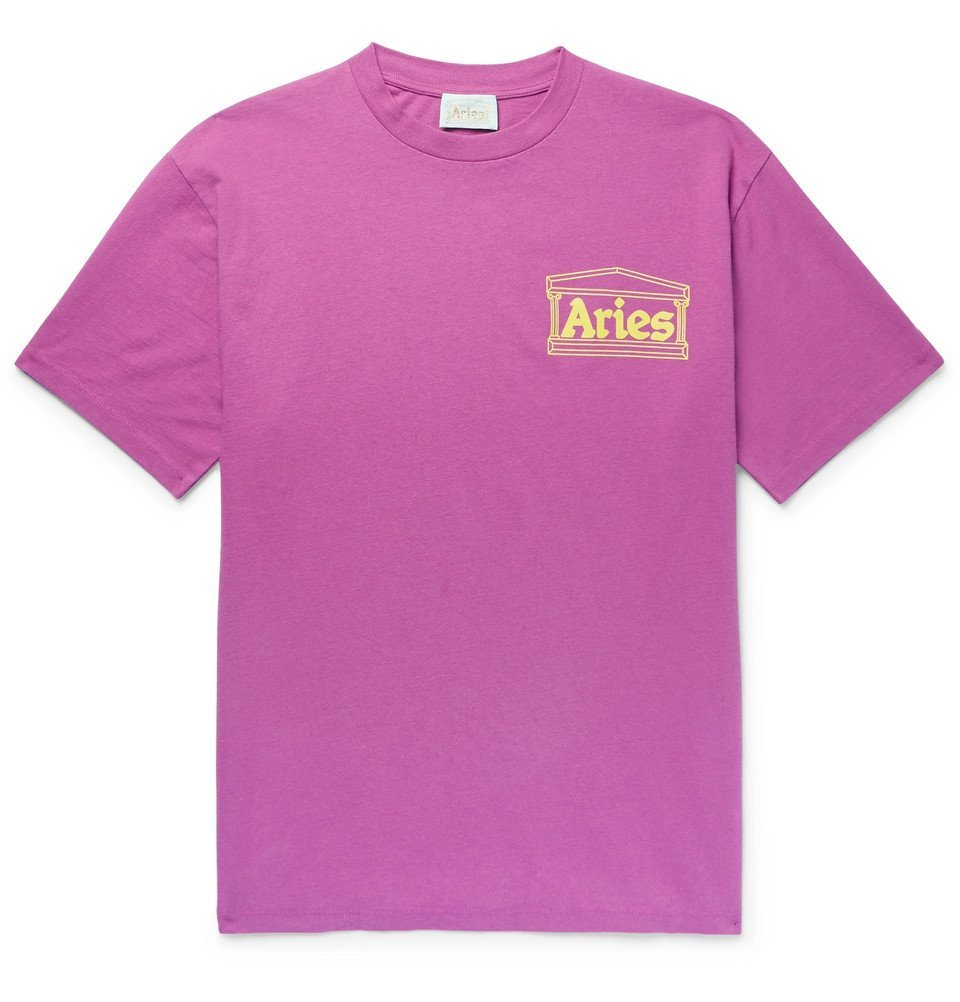 Photo: Aries - Logo-Print Cotton-Jersey T-Shirt - Men - Magenta