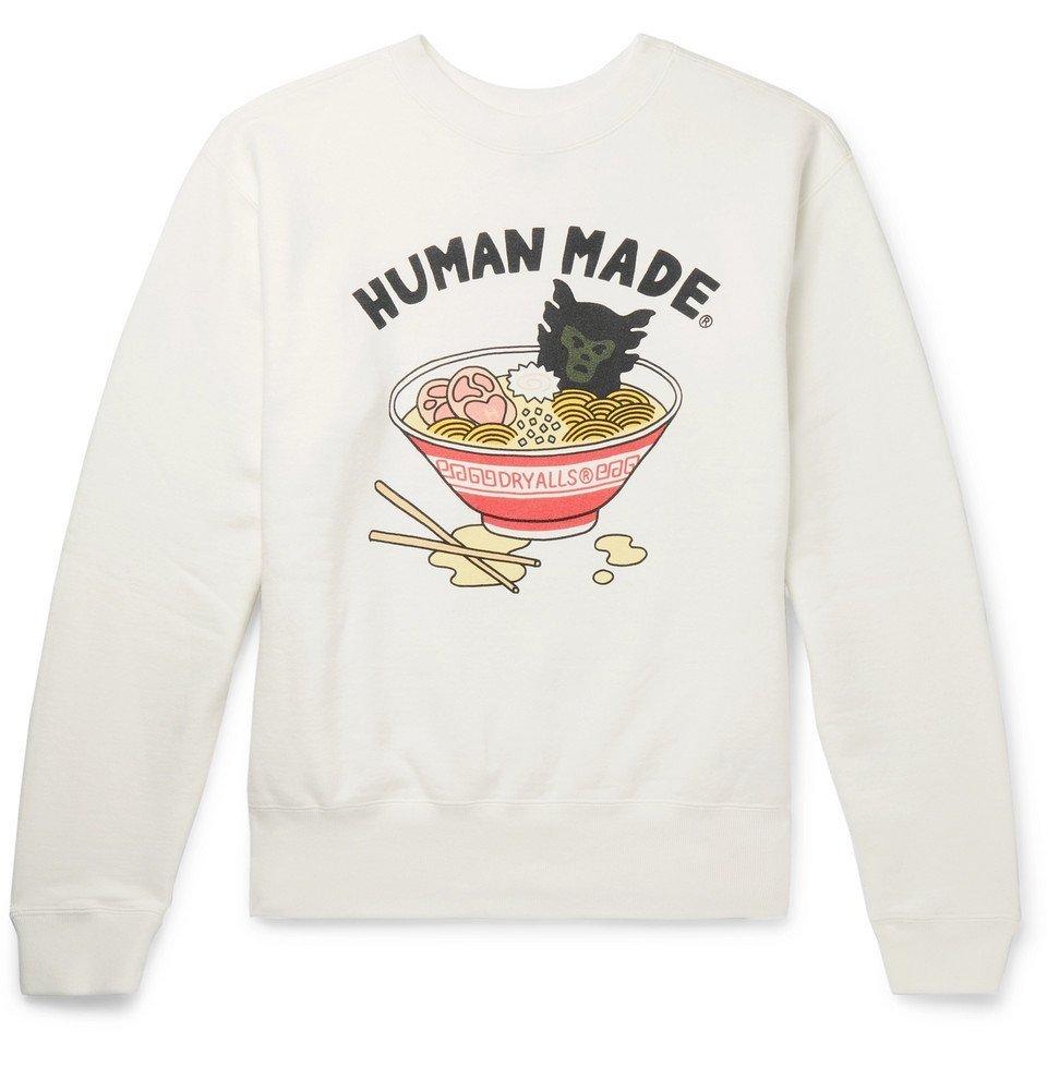 Photo: Human Made - Printed Loopback Cotton-Jersey Sweatshirt - White