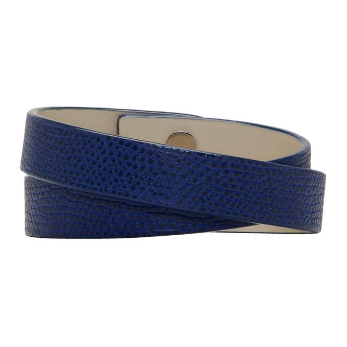 Photo: Valextra Blue Leather Double Bracelet