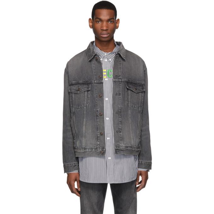 Photo: Balenciaga Grey Denim Shadow Logo Jacket