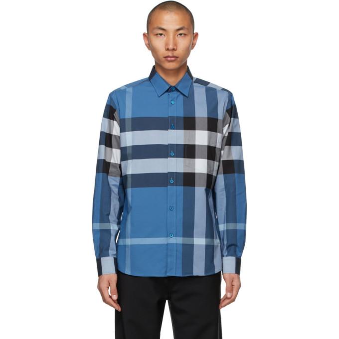 Photo: Burberry Blue Stretch Poplin Check Shirt