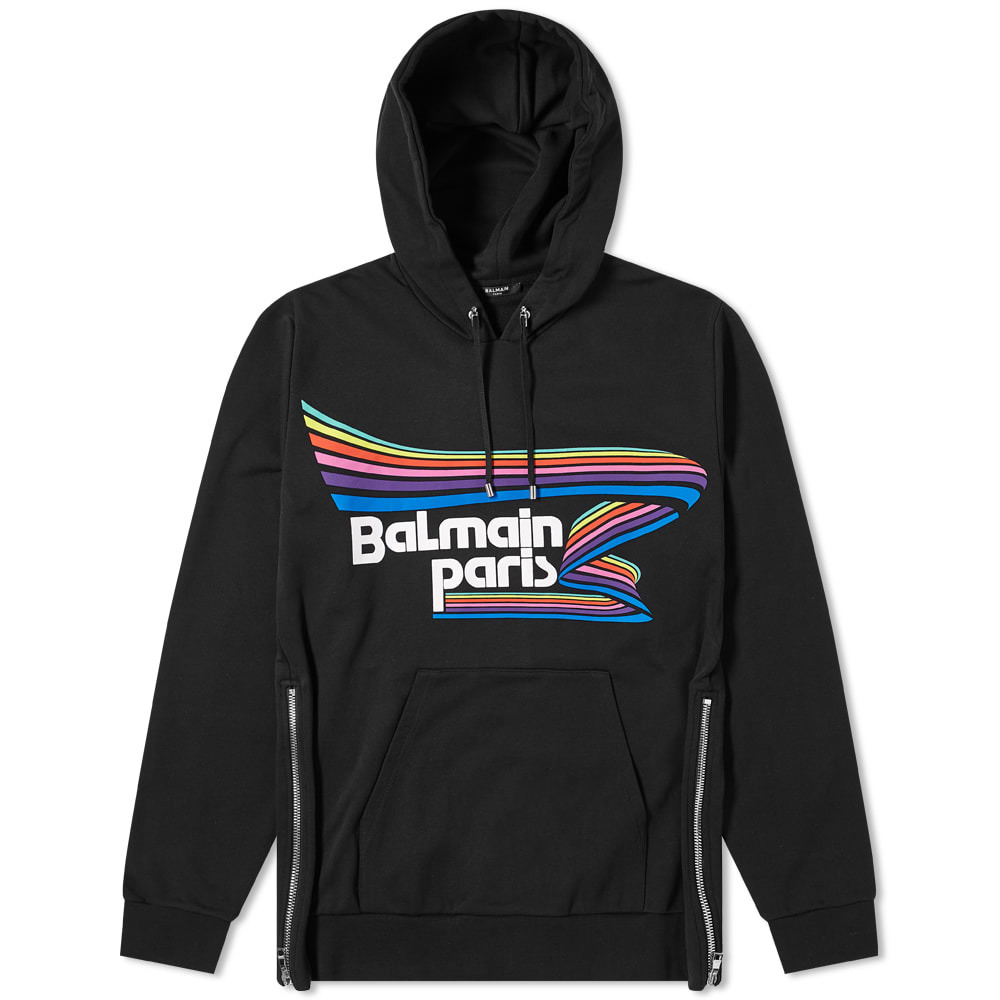 Photo: Balmain Rainbow Logo Popover Hoody