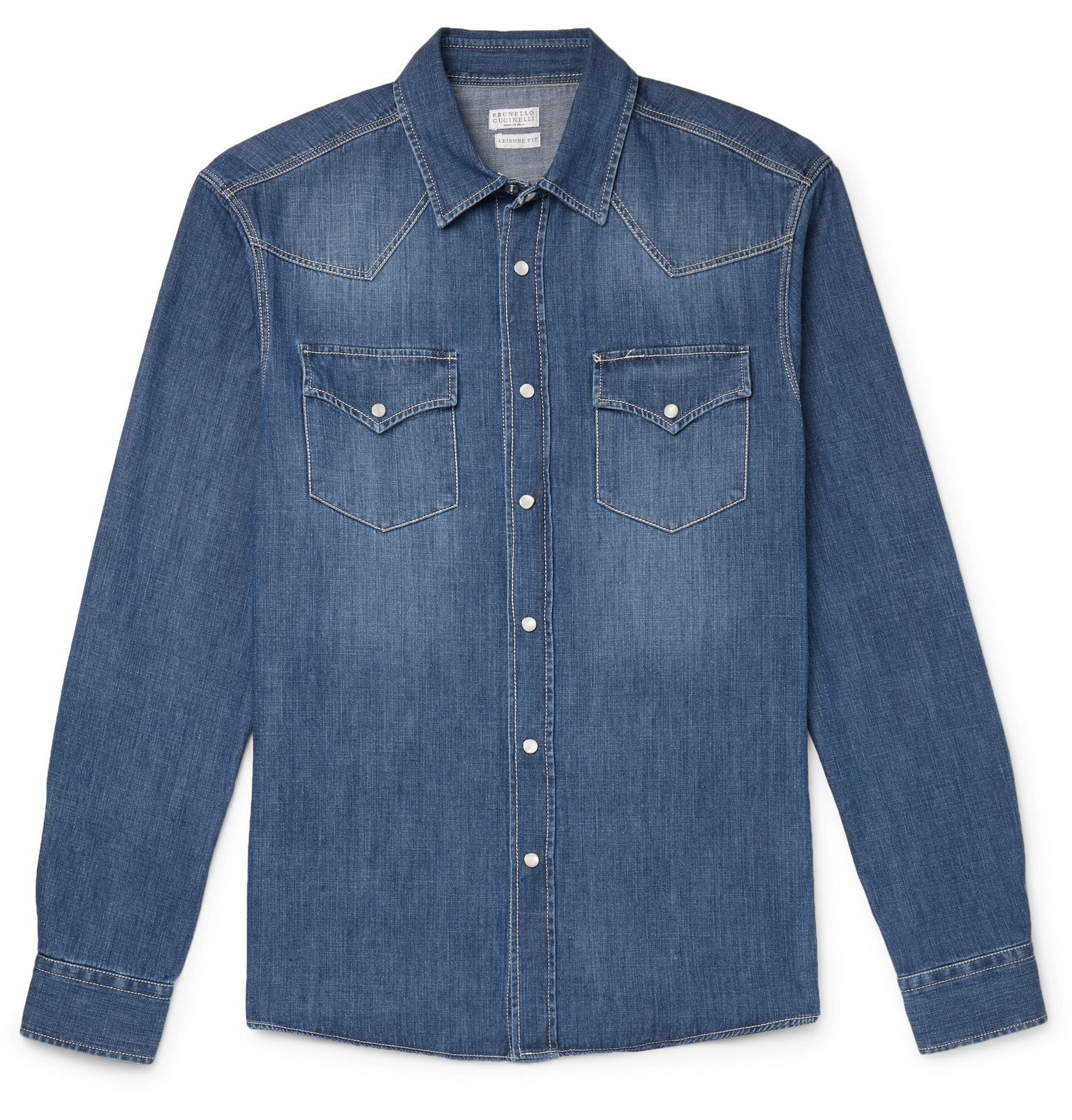 Photo: Brunello Cucinelli - Denim Western Shirt - Blue