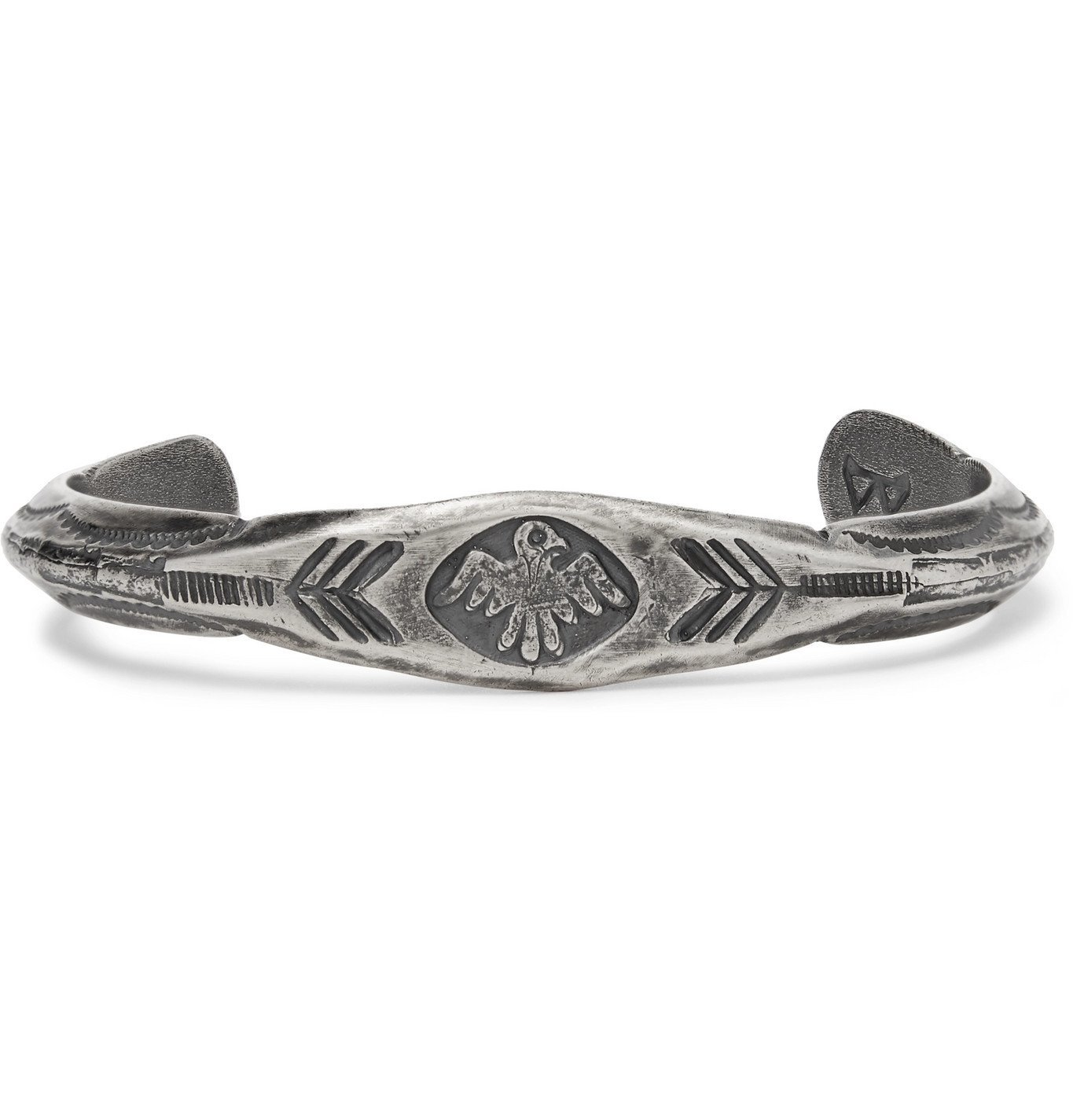 Photo: Peyote Bird - Thunderbird Engraved Sterling Silver Cuff - Silver