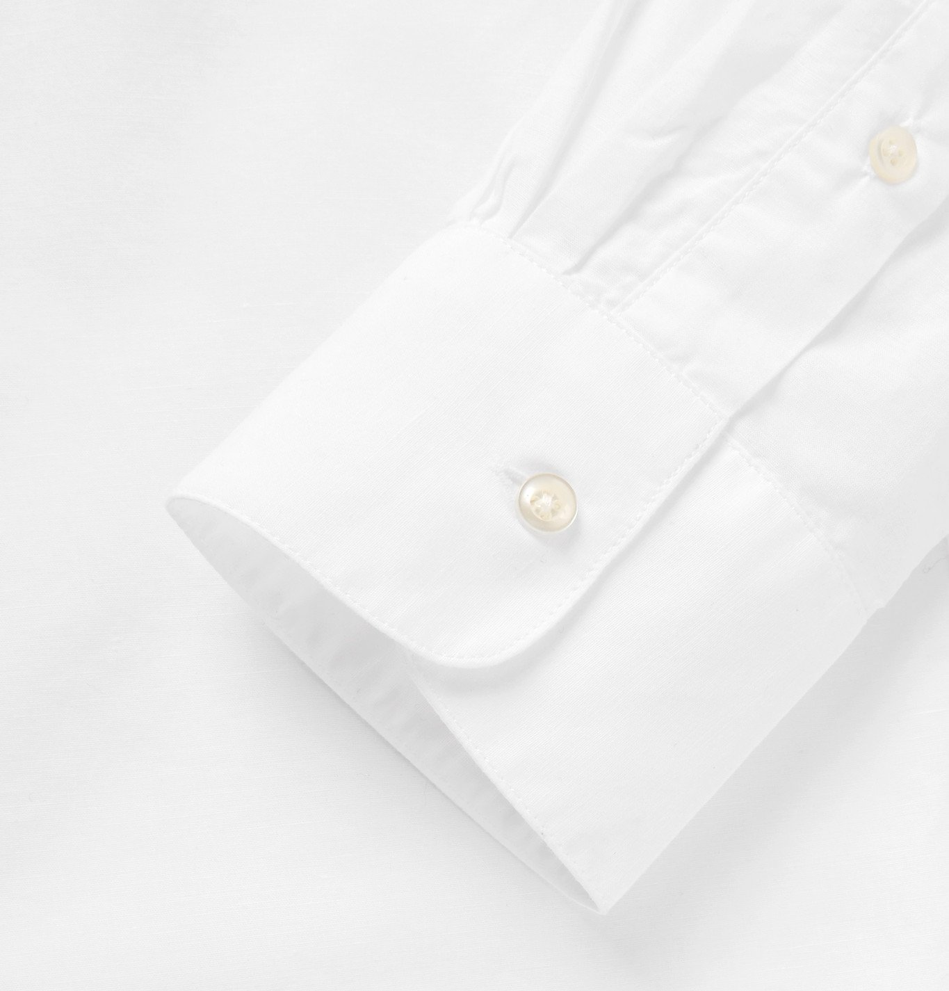 Officine Generale - Camp-Collar Cotton and Linen-Blend Voile Shirt - White