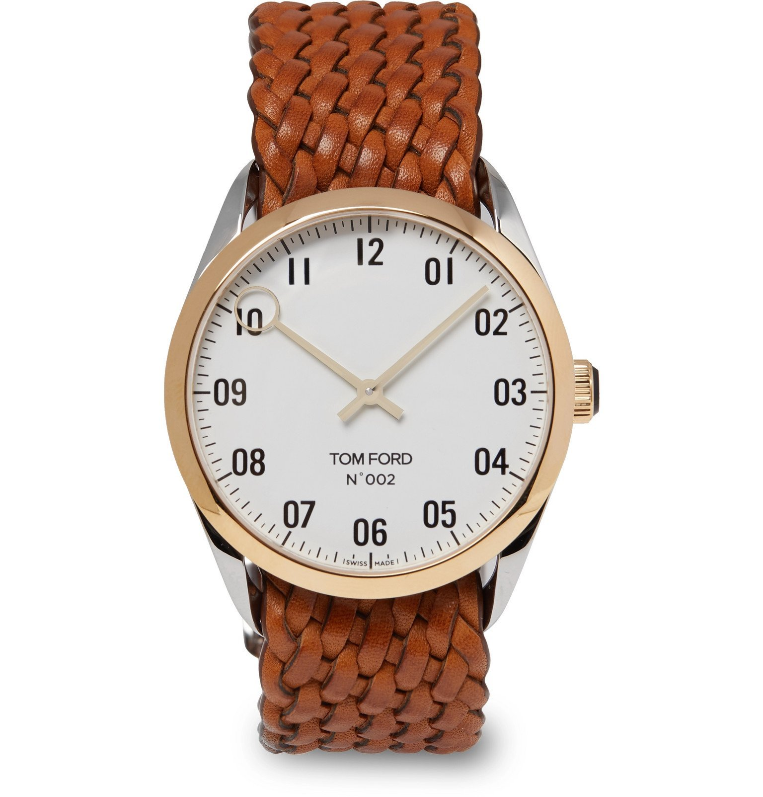 Tom Ford Timepieces - 002 38mm Stainless Steel, 18-Karat Gold and Leather Watch - White