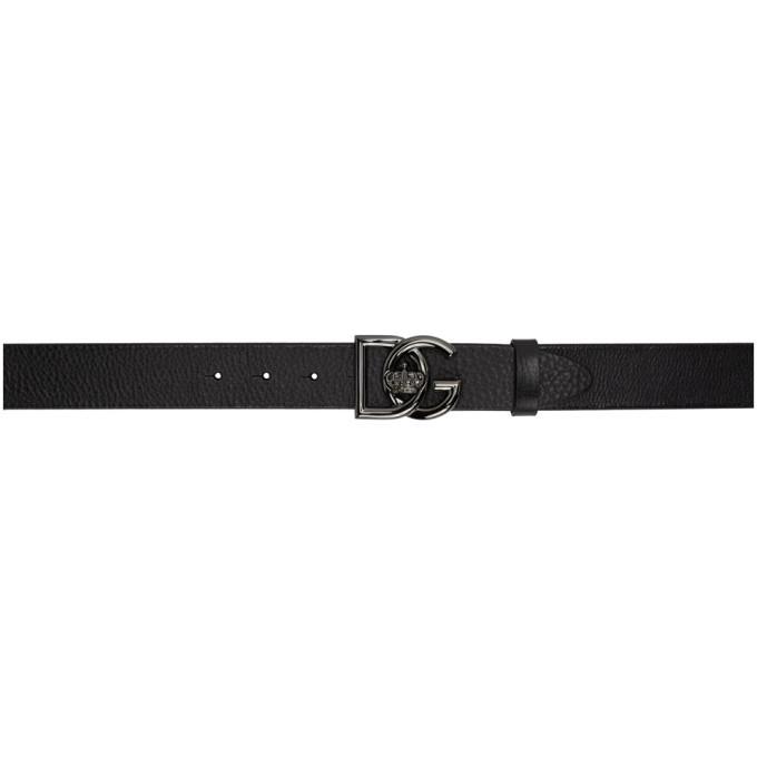 Photo: Dolce and Gabbana Black DG Crossed Logo Belt