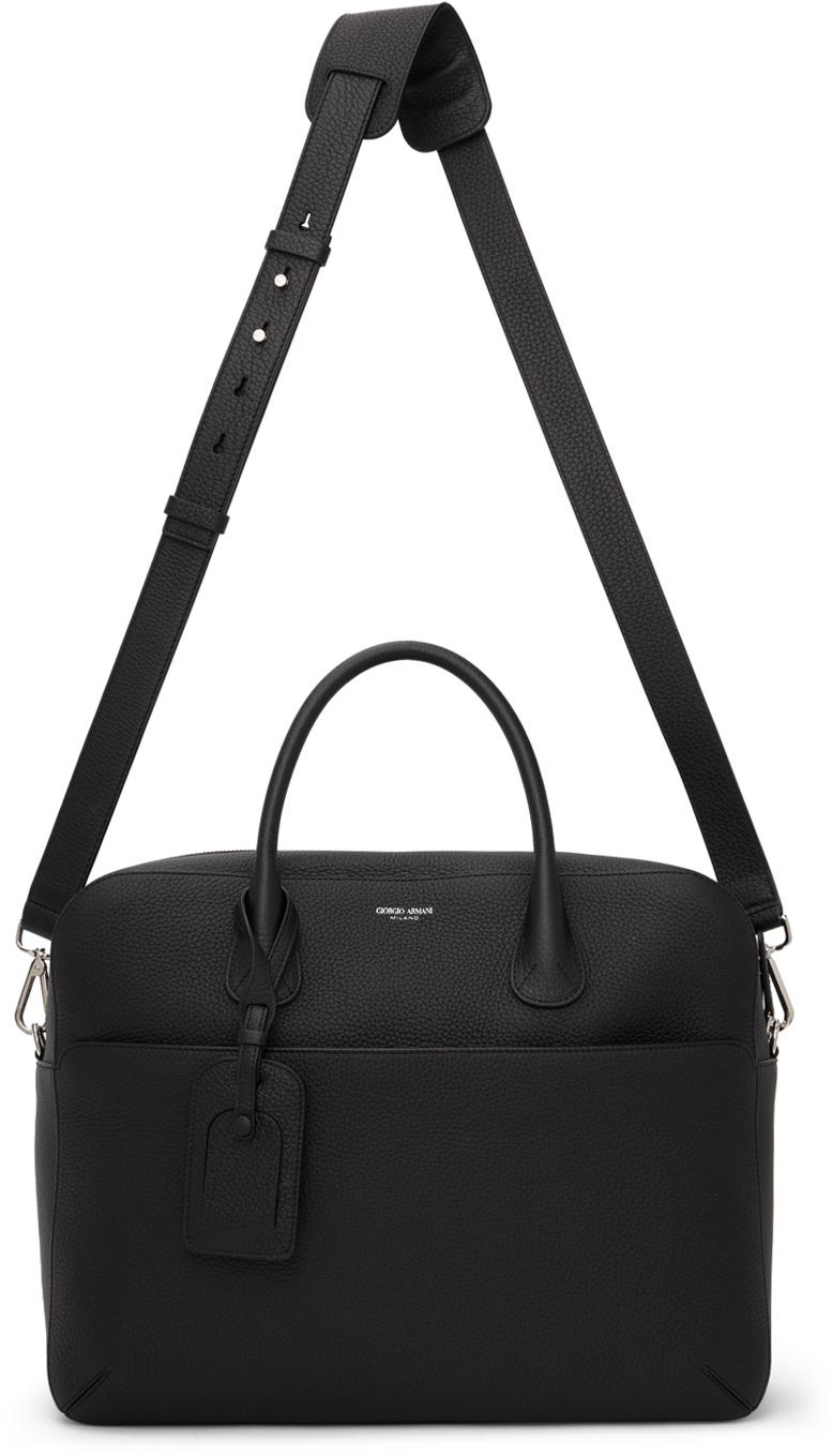 Photo: Giorgio Armani Black Tumbled Leather Briefcase