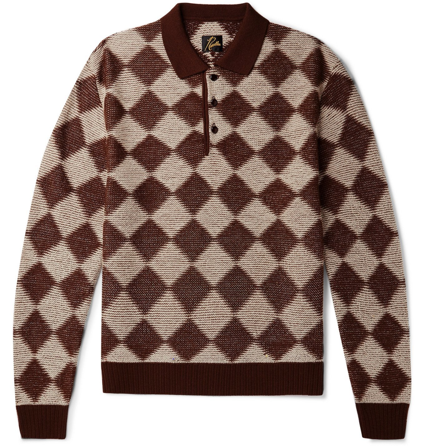 Photo: Needles - Checked Intarsia Wool Sweater - Brown