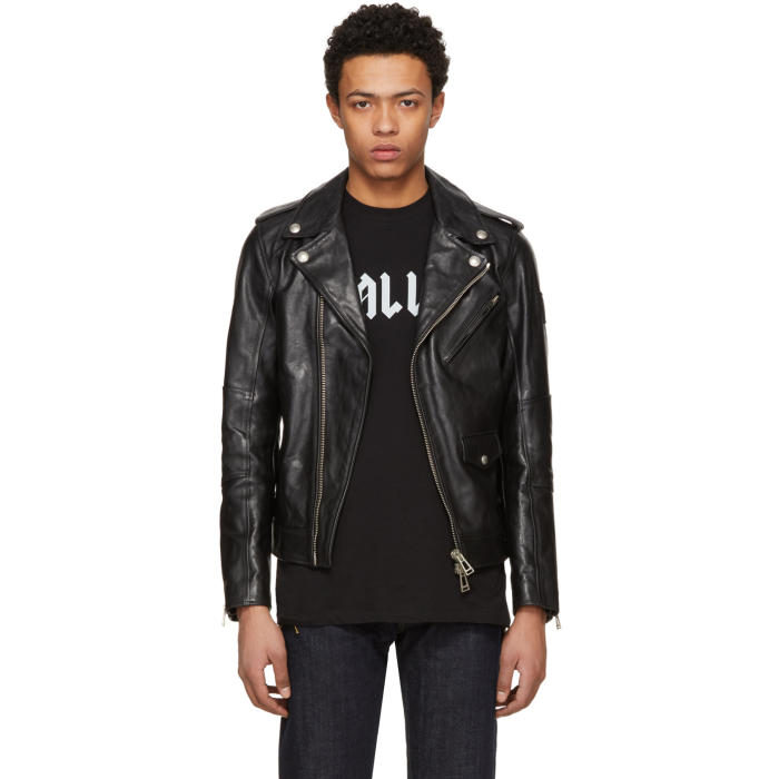 Photo: Belstaff Black Leather Sidmouth Biker Jacket