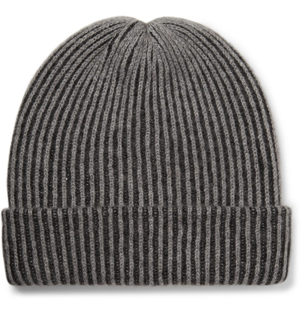 Photo: The Elder Statesman - Watchman 2 Striped Ribbed Cashmere Beanie - Charcoal