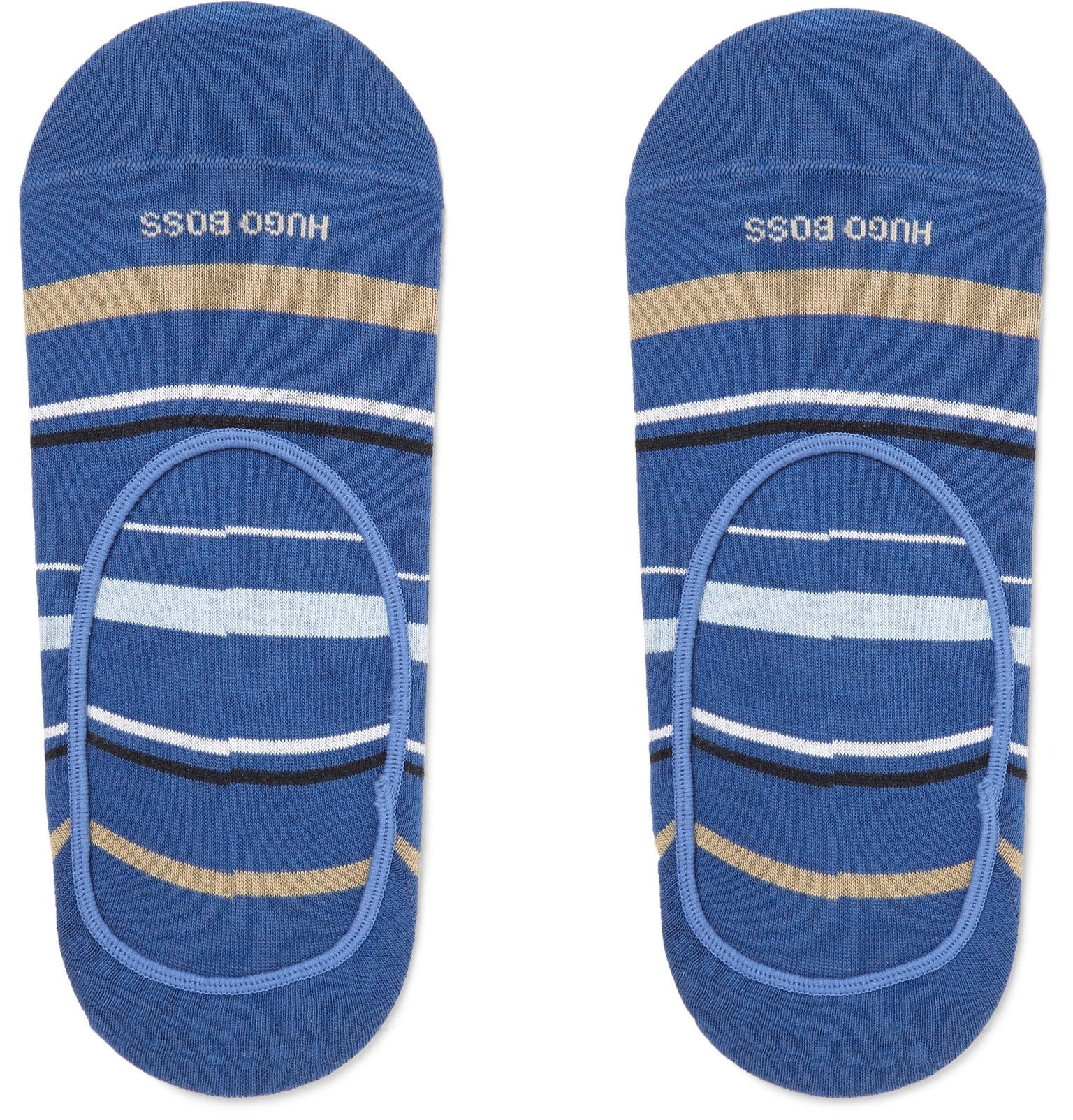 Photo: Hugo Boss - Striped Stretch Cotton-Blend No-Show Socks - Blue