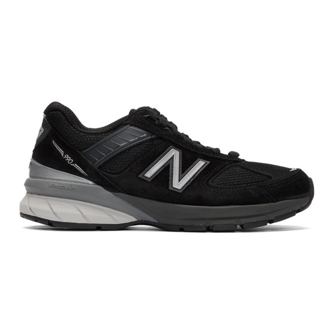 Photo: New Balance Black and Grey Made In US 990v5 Sneakers