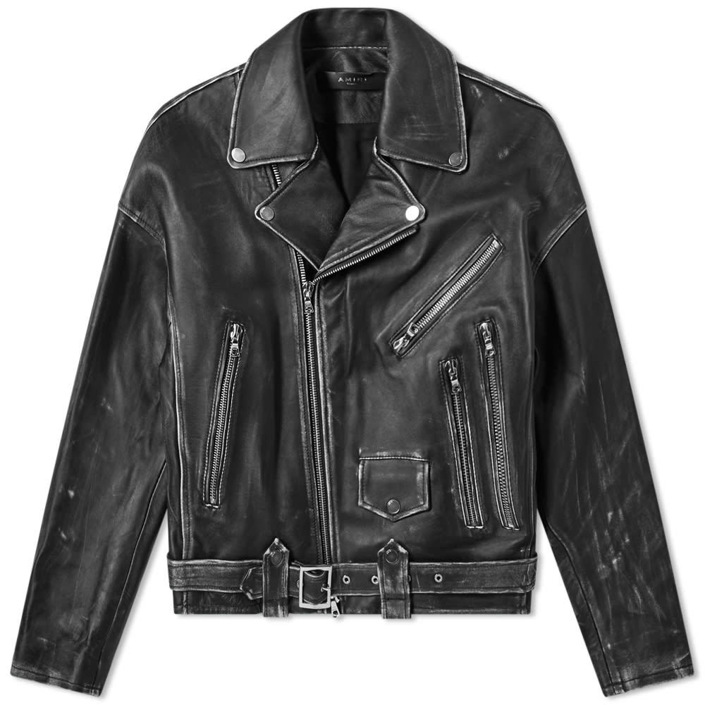 Photo: AMIRI Leather Oversized Biker Jacket Black