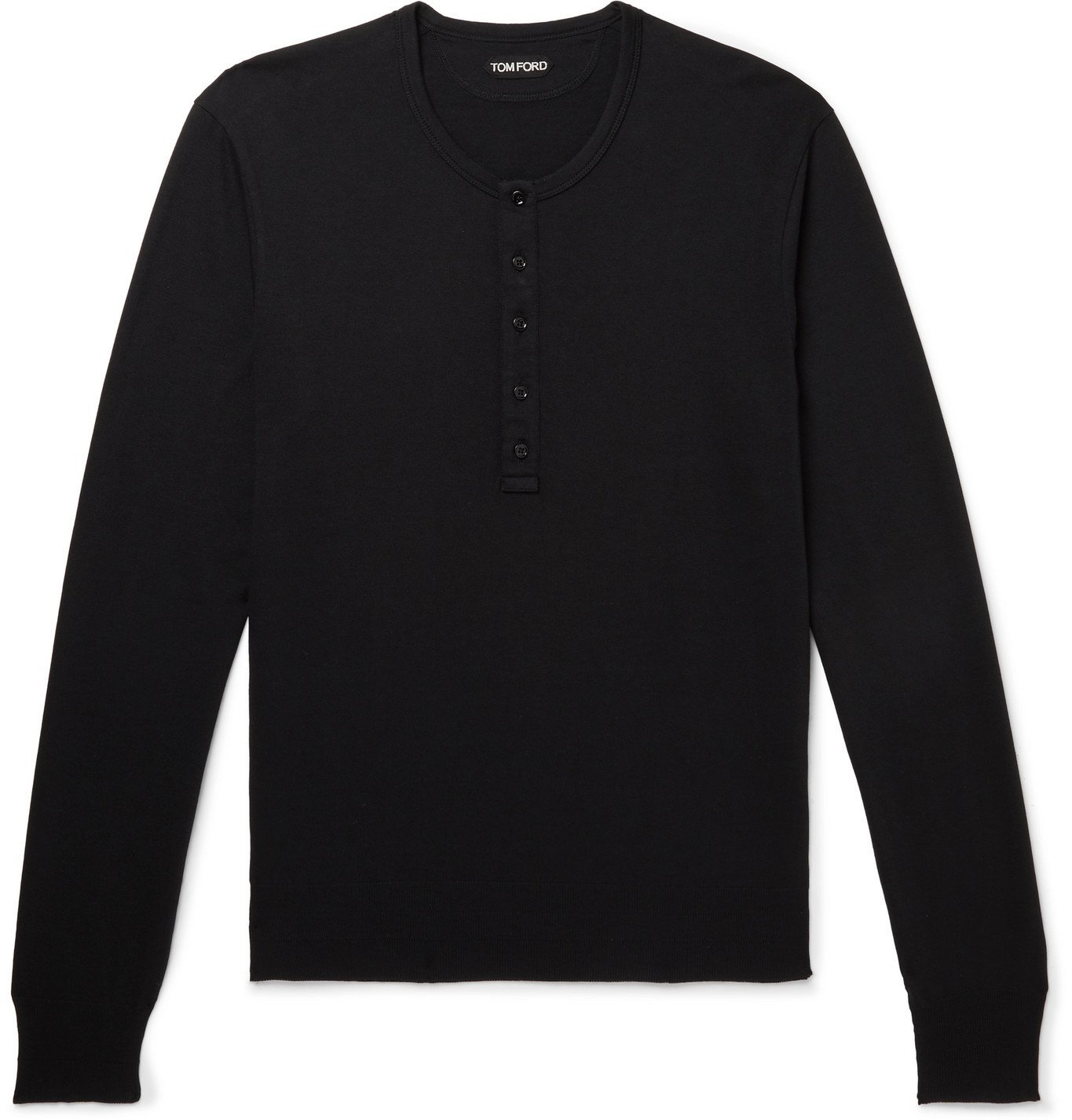 Photo: TOM FORD - Slim-Fit Cotton and Modal-Blend Jersey Henley T-Shirt - Black