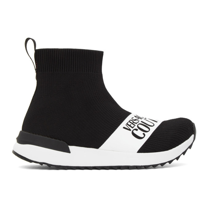 Versace Jeans Couture Black Institutional Logo Sock Sneakers